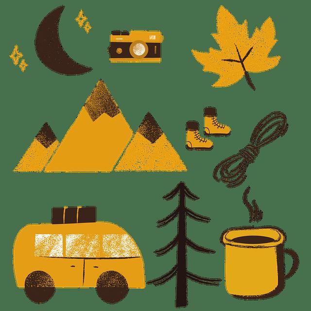 Na fotografii jsou namalované různé věci specifické pro tábor - strom, hrneček, list, autobus apod.
